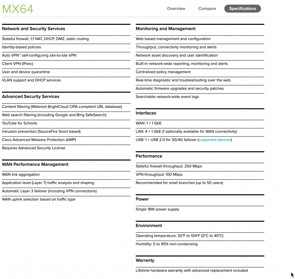 Cisco Meraki MX64 Datasheet